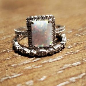Iridescent Fire Opal Double Bands